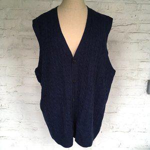 Brooks Brothers sweater vest cardigan navy blue
